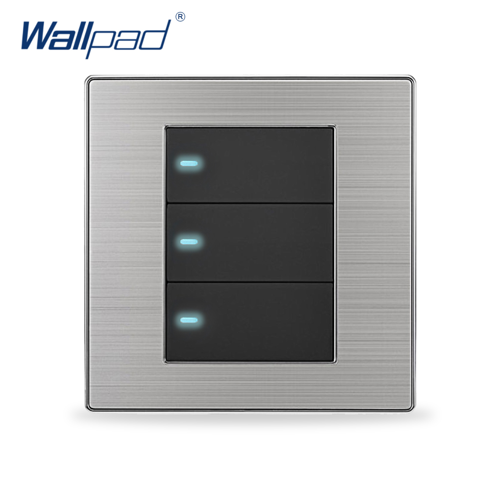 2018 Hot Sale 3 Gang 1 Way Wall Light Switch Wallpad Luxury Push Button Switches LED Indicator Interrupteur 10A AC 110~250V krst luxury led lighting switch 2 gang 1 way 2 ways n ways push button wall switches ac 250v 10a 86x86mm popular