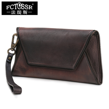 2019 New Retro Leisure Women Clutch Handbag BaotouHandamde Genuine Leather Wristlets Wallet Vintage Day Clutches Purse Bag