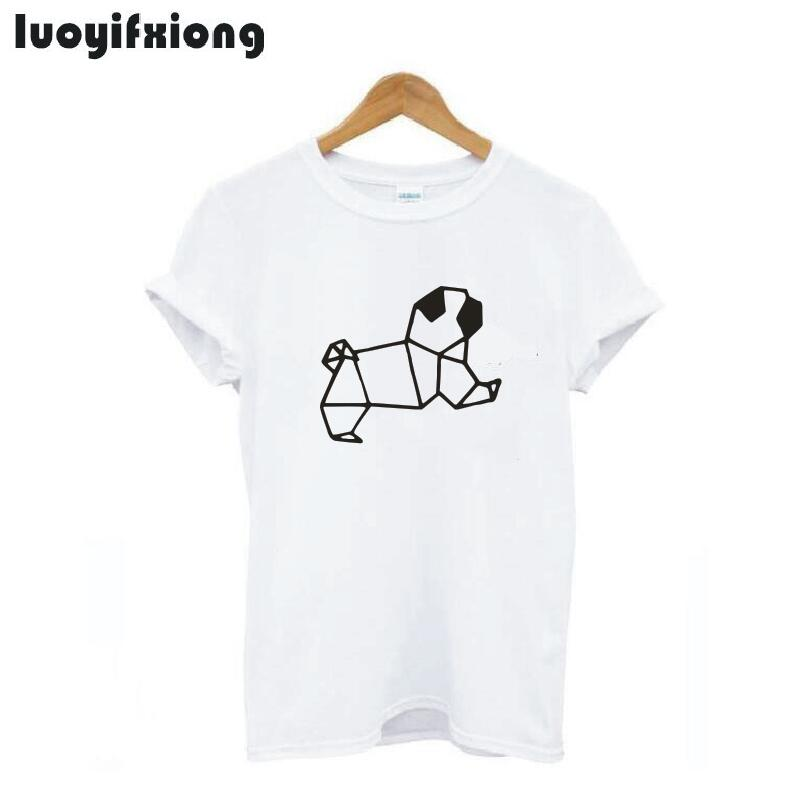 Pug Origami Graphic Outfits Women Tshirt Shirt Casual Short Sleeve Tee Women Tops Stylish Tee Short Sleeve Tshirt Women Shirts