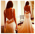 Free shipping backless lace wedding dress bride mermaid wedding dresses bridal gown vestido de noiva vintage robe de mariage