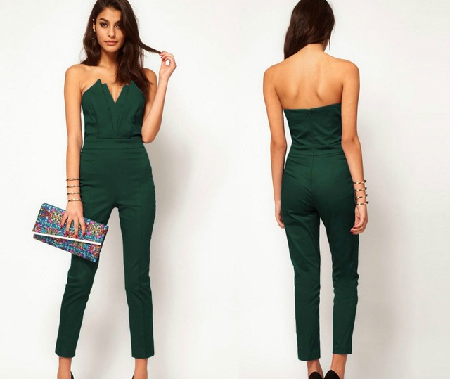 Fashion Women Jumpsuits Nine pants Wrapped chest Sexy Backless Autumn Rompers elasticity Zipper Sleeveless Long Playsuits