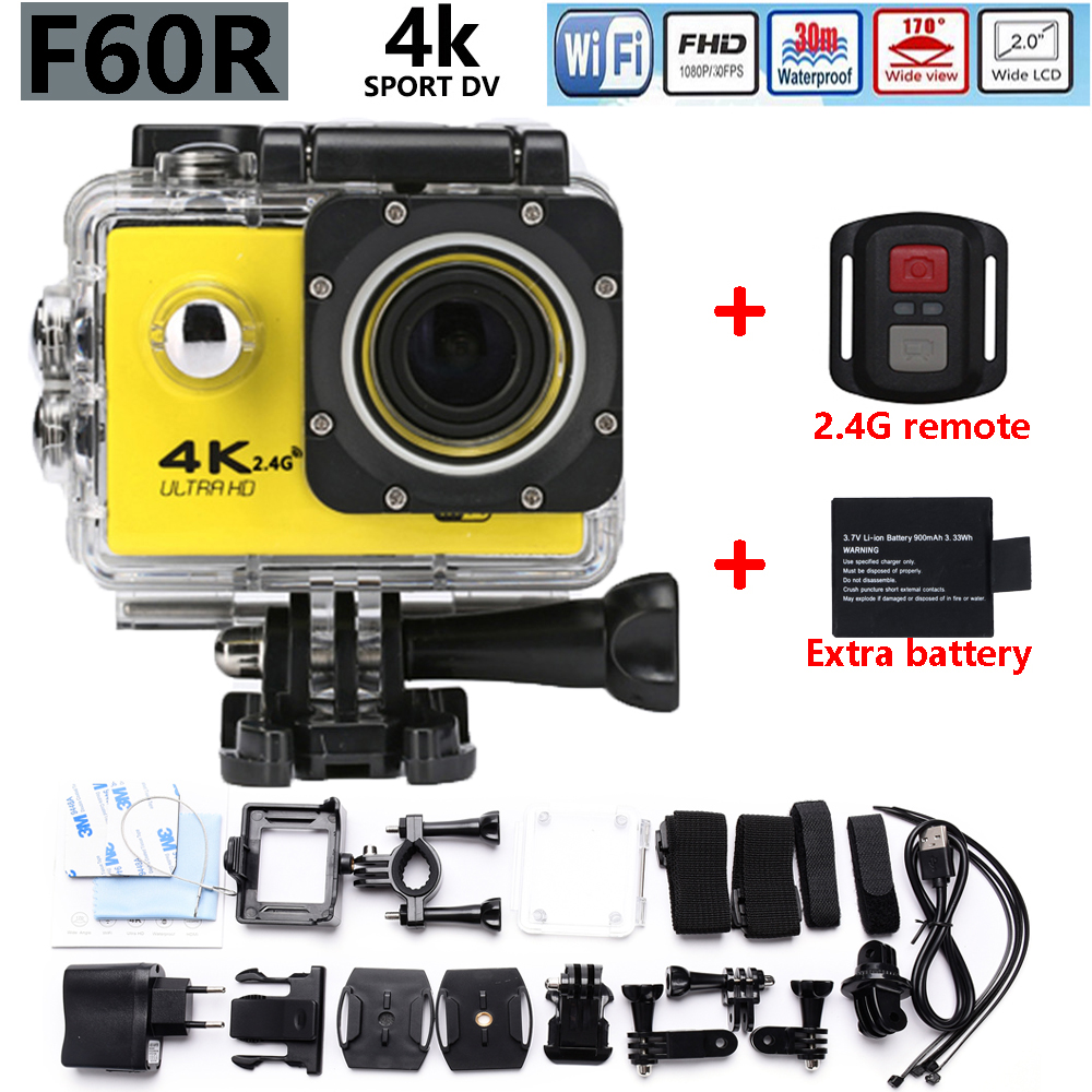 Free shipping F60R Ultra HD 4K Action Camera Wifi 2.0 screen 170 Wide Lens waterproof Action cam go pro style Add Extra battery