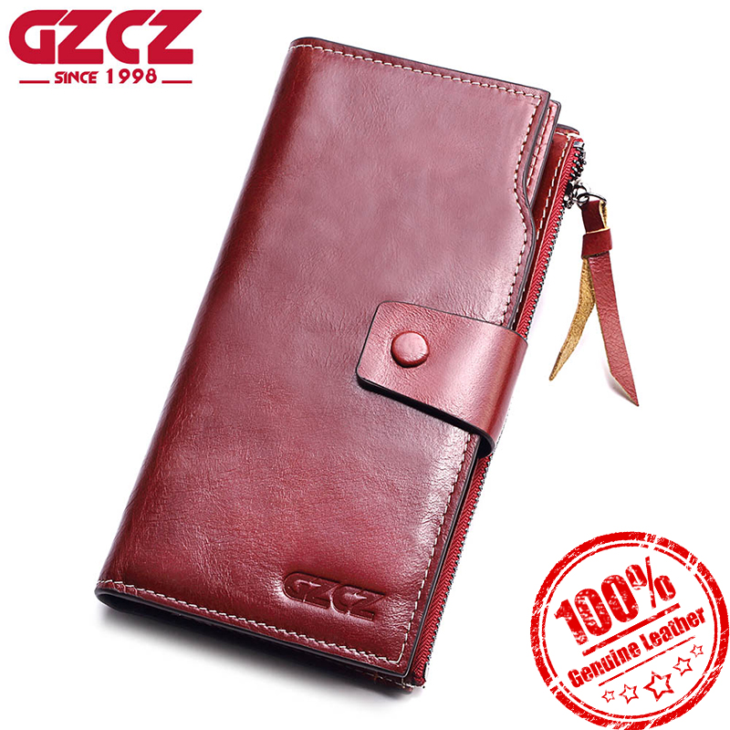 GZCZ Genuine Leather Women Wallet Fashion Long Zipper Female Holder Small Vallet Card Holder For Money Coin Purse Clutch fashion girl change clasp purse money coin purse portable multifunction long female clutch travel wallet portefeuille femme cuir