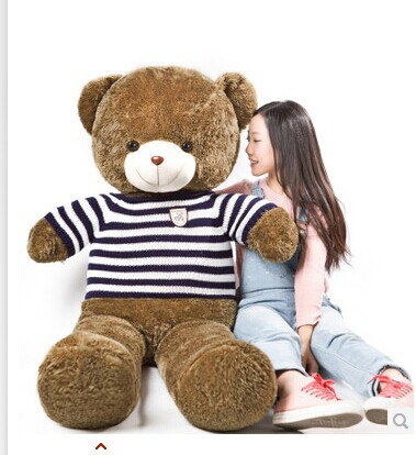 Stuffed animal 90cm blue& white stripes sweater Teddy bear plush toy soft doll throw pillow gift w1701 stuffed animal 160cm dark brown teddy bear plush toy bowtie bear doll throw pillow gift w3514