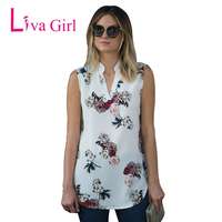 Liva Girl Chiffon Top Shirt Women Blouse Casual Sleeveless Tunic V Neck Summer Loose Tops Shirts