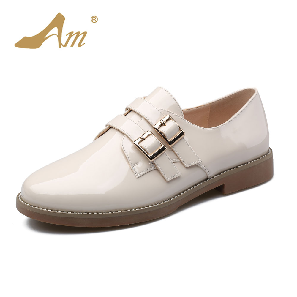 Ame 2017 Spring new fashion loafers casual flats student's shoes for women with low heels comfortable soft soles and buckles new spring summer women flats brand casual women shoes flat heels pu fashion crystal shoe pointed toe soft soles