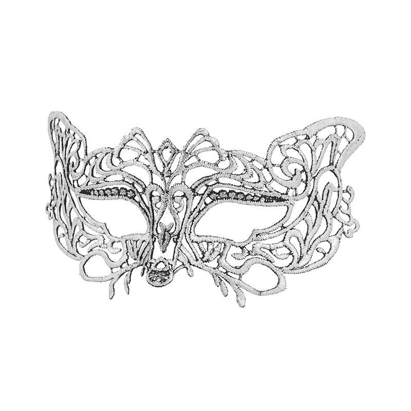 Серебряная горячая штамповка Дамская Сексуальная Маскарадная маска из кружева для карнавала, Хэллоуина, выпускного вечера, Вечерние Маски, маска для глаз#35 - Цвет: PM038TS