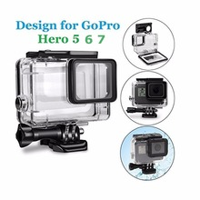 EACHSHOT 45M Underwater Waterproof Diving Housing Case with Quick Release Mount Thumbscrew for GoPro HERO 5 6 7 Action Camcorder telesin cool black waterproof case shell 45m underwater housing bacpac touched lcd screen backdoor cover for gopro hero 7 6 5