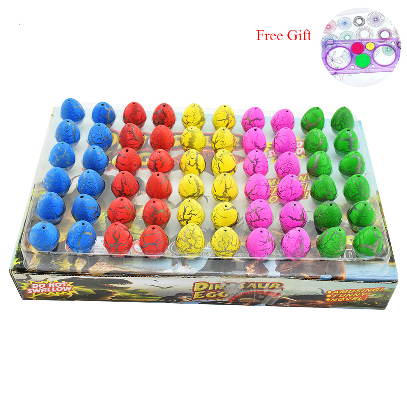 60pcs/lot Magic Hatching Dinosaur Eggs Toy For Kids Gifts Children Water Hatching Inflation Growing Dino Egg Novelty Gag Toys