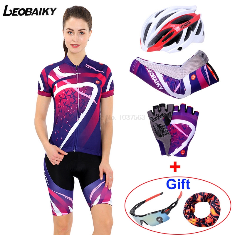 LEOBAIKY Summer Women MTB Bike Cycling Clothing Breathable Mountian Bicycle Clothes Ropa Ciclismo Quick-Dry Cycling Jersey Sets new wosawe brand new cool cycling jersey set short sleeve sportswear polyester summer bike cycling clothing ropa ciclismo fcfb