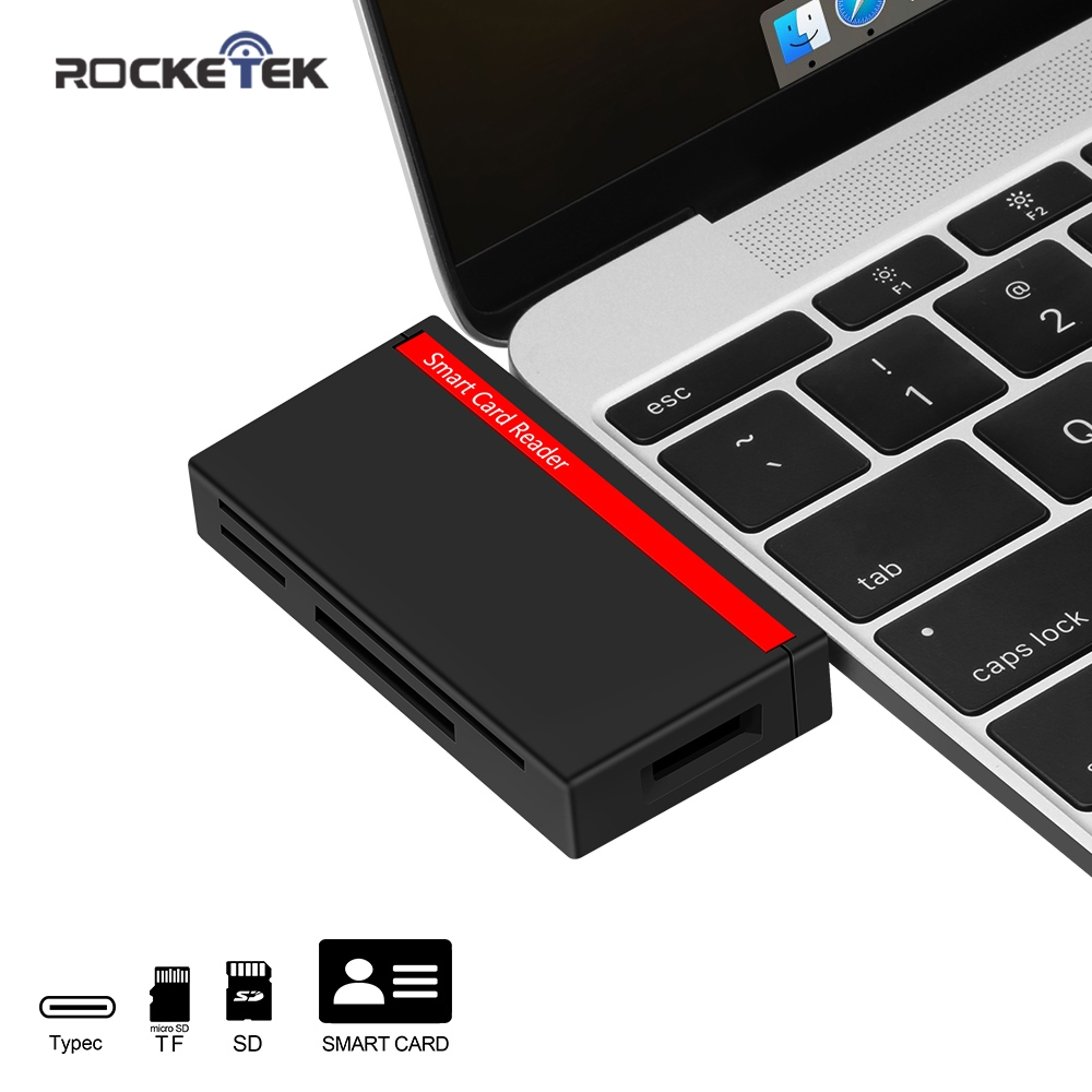 Rocketek Type-C USB C 3.0 Multi Smart Card Reader SD/TF Micro SD Memory ,ID,Bank Card,sim Cloner Connector Adapter Computer Pc
