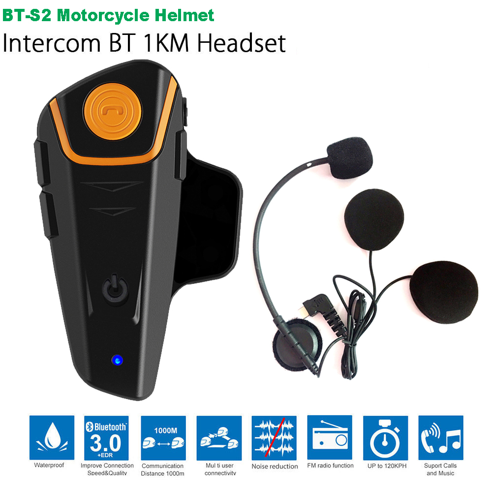 Waterproof BT-S2 Multi BT Interphone 1000M Motorcycle Bluetooth Helmet Intercom Intercomunicador Moto Interfones Headset FM MP3
