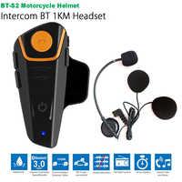 Impermeable BT-S2 de BT Interphone 1000M de Bluetooth del Intercomunicador del casco Intercomunicador Moto Interfones auriculares FM MP3