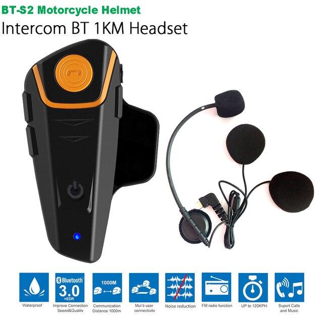 Waterproof BT S2 Multi BT Interphone 1000M Motorcycle Bluetooth Helmet Intercom Intercomunicador Moto Interfones Headset FM MP3