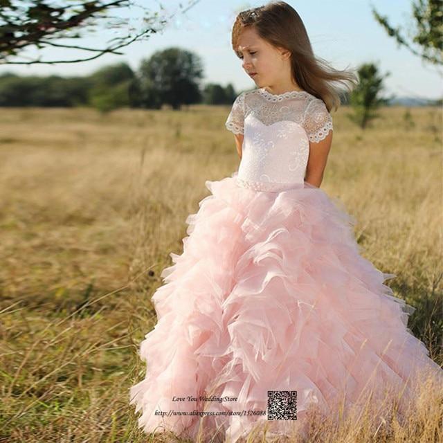 1a02302be2 Słodkie różowe koronki korowód sukienki dla dziewczynek Glitz pierwsza  komunia sukienki dla dziewczynek księżniczka dzieci suknie
