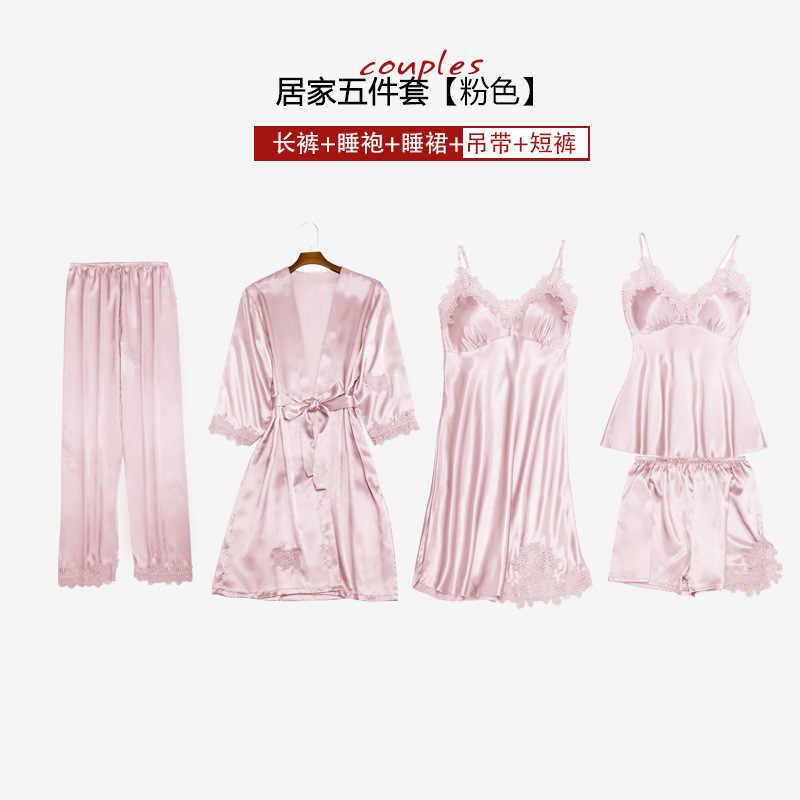 Conjunto de pijamas de moda Sexy para mujer, ropa de dormir sin mangas con tiras, pantalón, bata larga