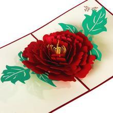 купить 3D Peony Handmade Pop Up Greeting Card Thanks You Cards for Lover Happy Birthday Gift Card with Envelope 3pcs/lot дешево