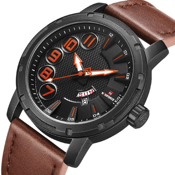 Naviforce 9154 Militray Sport Quartz Men Watch Leather Male Date Week Wristwatches with box