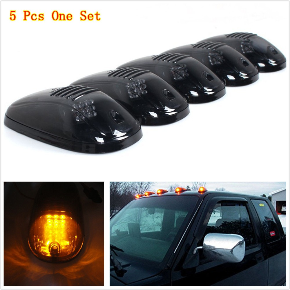 5pcs 12V Truck SUV Amber LED Cab Roof Marker Running Lights Black Smoked Lens for Pickup 4x4 Ford F150 cyan soil bay 5pcs oval top led cab roof lights running marker smoke lens for dodge ford truck