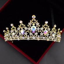 Vintage Colorful Crystal Crown Wedding Headwear Rhinestone Bride Tiaras Headbands Hair Jewelry For Headpiece