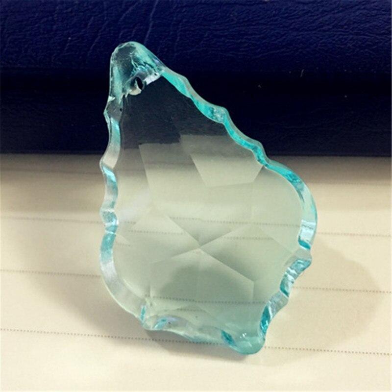 Best Sale 17pcs/lot 63mm Aquamarine Color Crystal Chandelier Pendants Crystal Maple Leaf Drop Hanging Pendants,Strand Pendants