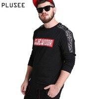 Plusee Mens Hoodies And Sweatshirts 2017 Casual Hoodies Men Plus Size Spring Letter Print Loose Black