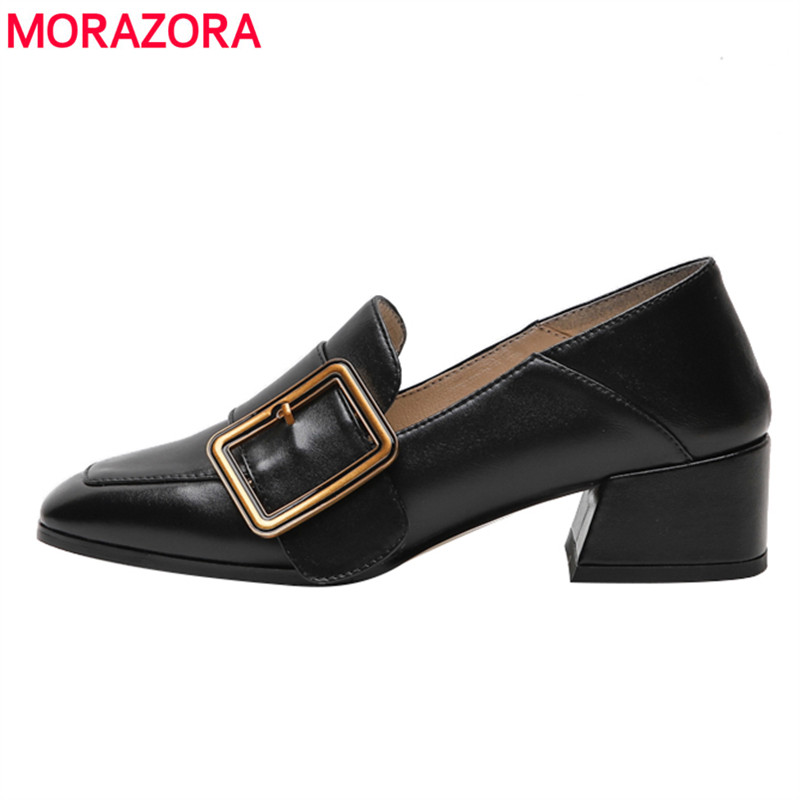 MORAZORA 2019 hot sale top quality women pumps shallow genuine leather shoes simple buckle square heels