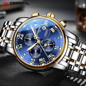 Image 4 - CARNIVAL 2019 Business Watch Men Automatic Luminous clock Men Waterproof Mechanical Watch Top Brand Moon phase relogio masculino