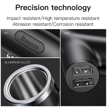 Baseus 3 in 1 Car Charger for iPhone Charger for Mobile Phone Dual USB + Cigarette Lighter for 3 3.4A devices Quick Car Charger 4