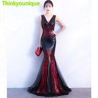 Sequined Long Evening Dresses 2018 V Neck Mermaid Robe De Soiree Longue Vestido De Festa Longo