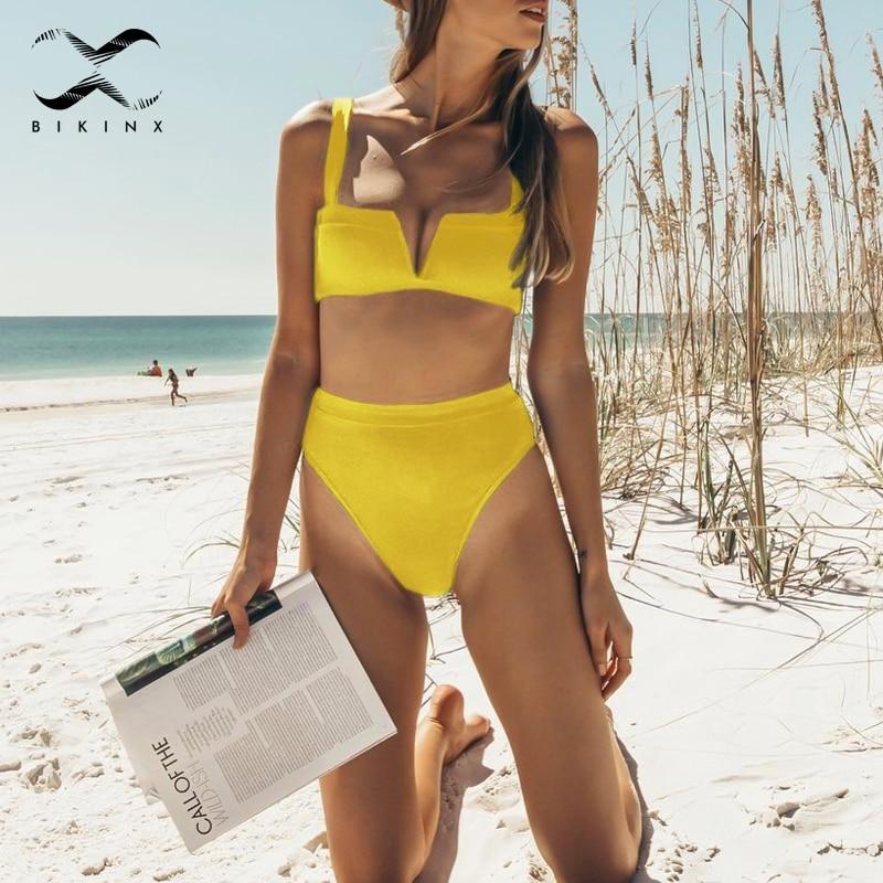 Bikinx Strappy deep v neck bikinis 2019 mujer Push up swimsuit solid high waist swimwear women biquinis Sexy bikini micro brazil 5