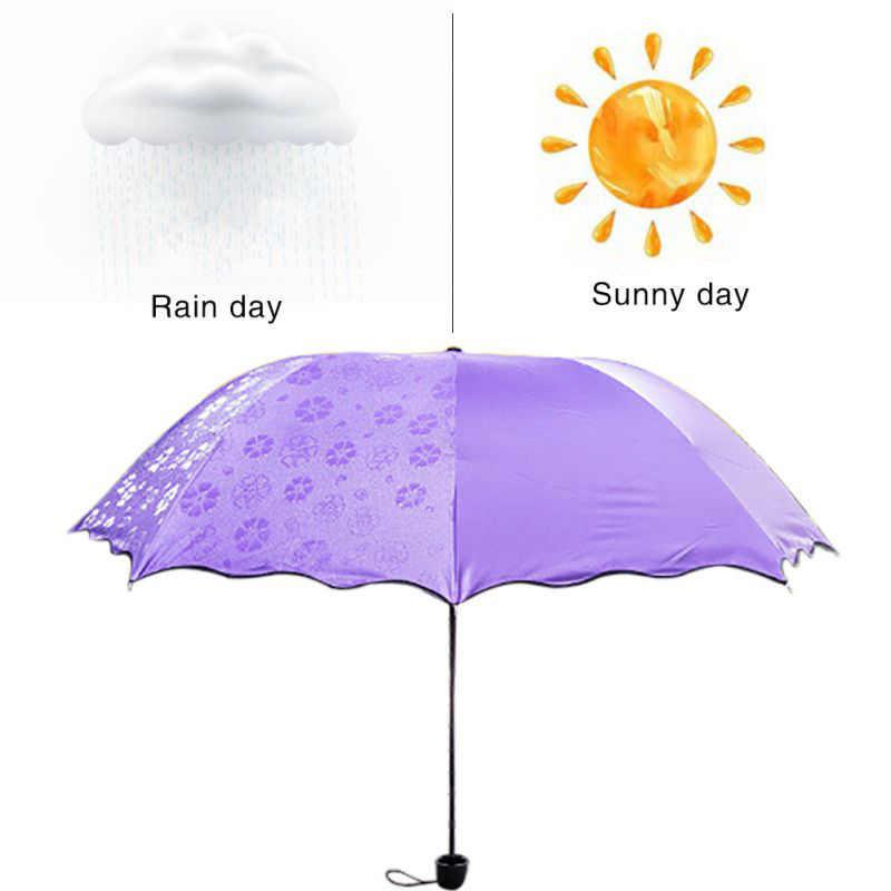ציוד גשם קסם פרח כיפת מתקפל מטריות לנשים Windproof קרם הגנה אולטרה סגול הוכחה שמשייה שמש גשם מטריית