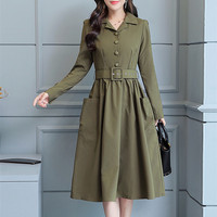 Autumn Winter Elegant Dresses New A line Party Dress Women Vintage Long Sleeves Ladies Office Dresses Plus Size Vestidos