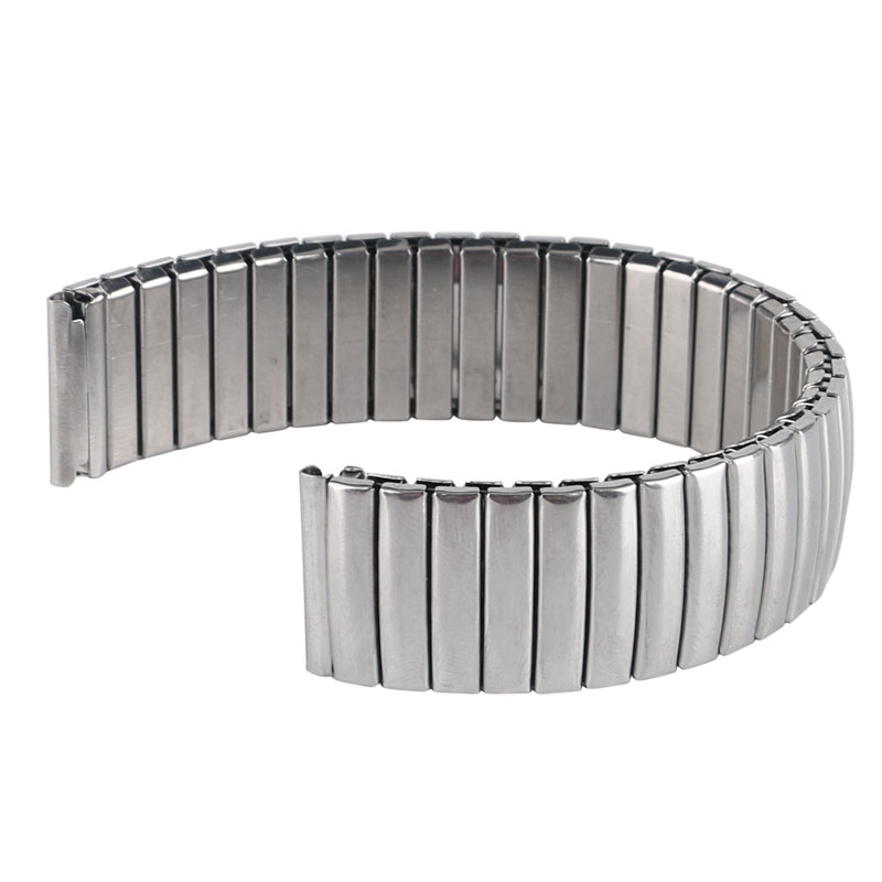 YISUYA 18mm Watchband Metal Replacement Silver Bracelet Flexible Stainless Steel Watch Band Strap Expansion Mens Womens Stylish