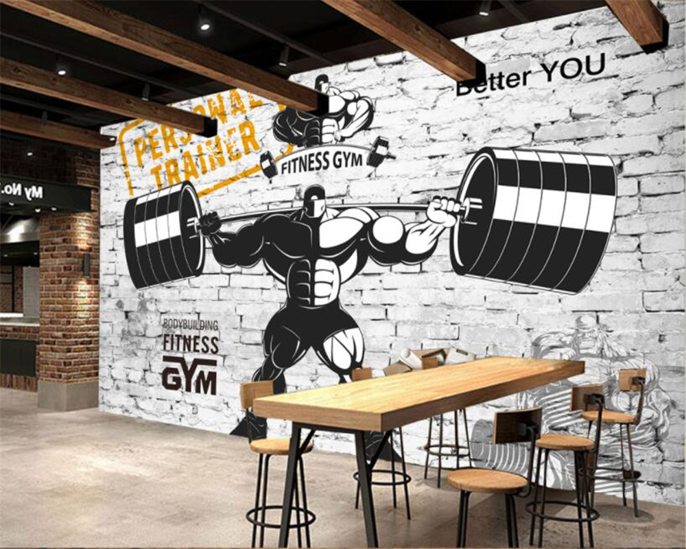 Beibehang Custom Gym Decorative 3D Wallpaper Nostalgic Retro Sports Fitness Weightlifting Background Wall Wallpaper For Walls 3d