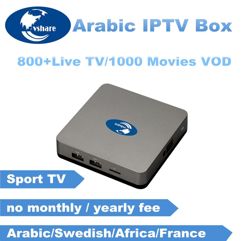 Vshare Arabic IPTV BOX support IPTV Arabic / Swedish/Africa/ channels tv  box,free Lifetime arabic iptv Smart android tv