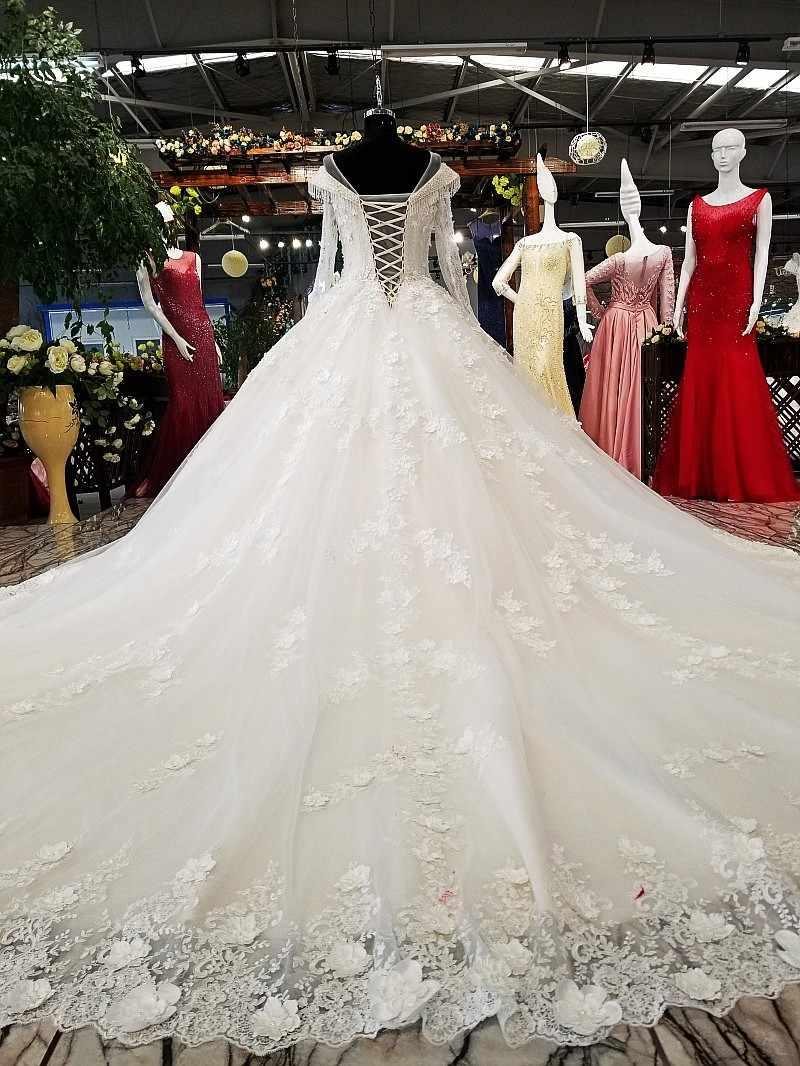 LS20 20D flowers wedding dress o neck long tulle sleeves ball ...