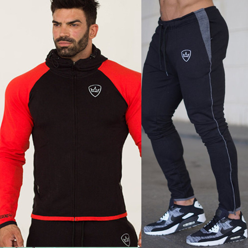 New Men Hoodies And Pants Sets Casual Sportswear Suit Zipper Sweatshirt Sweatpants Male Fitness Joggers Workout Brand Tracksuits