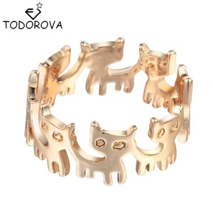 Todorova Gold Silver Connect Cat Ring Cute Fashion Jewelry Animal Ring For Women Young Girl Gifts Anel Wholesale