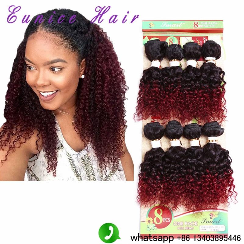 8pcs lot 100 human crochet curly font b hair b font Ombre Blonde BUG font b