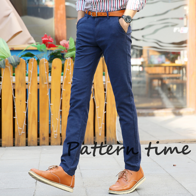2016 Brand New Arrival Men's Casual Pant Solid-colored Straight Mid Rise Slim Fit Long Trouser Designer Pant for Man