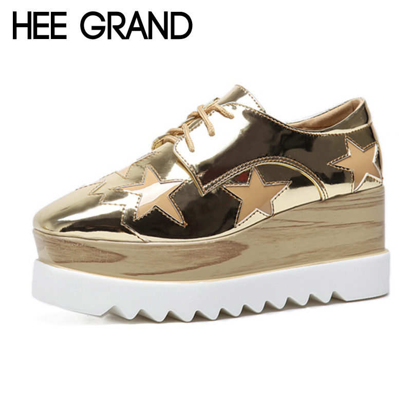 HEE GRAND 2018 Creepers Plate-Forme Casual Chaussures Femme Dentelle-Up Oxford Printemps Appartements De Mode Or Argent Femmes Chaussures XWD6280