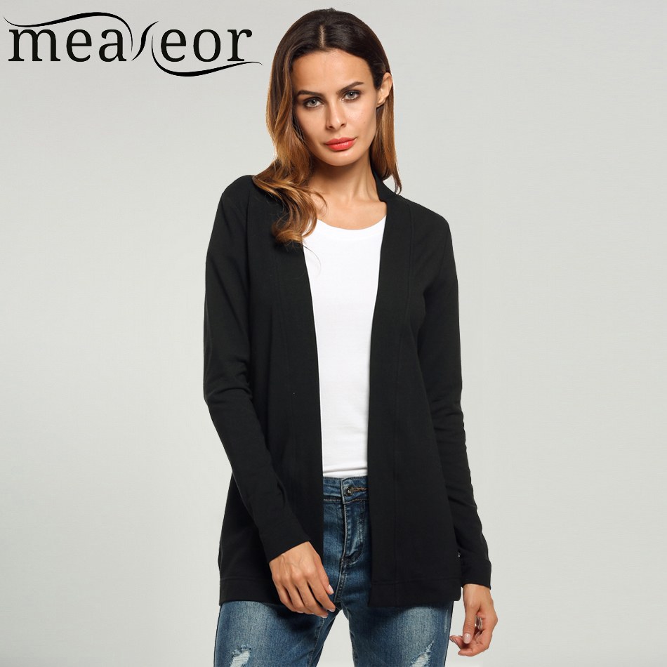 Meaneor Brand Basic Cardigan Women V Neck Long Sleeve Casual Solid Cardigans Spring Autumn Office Thin