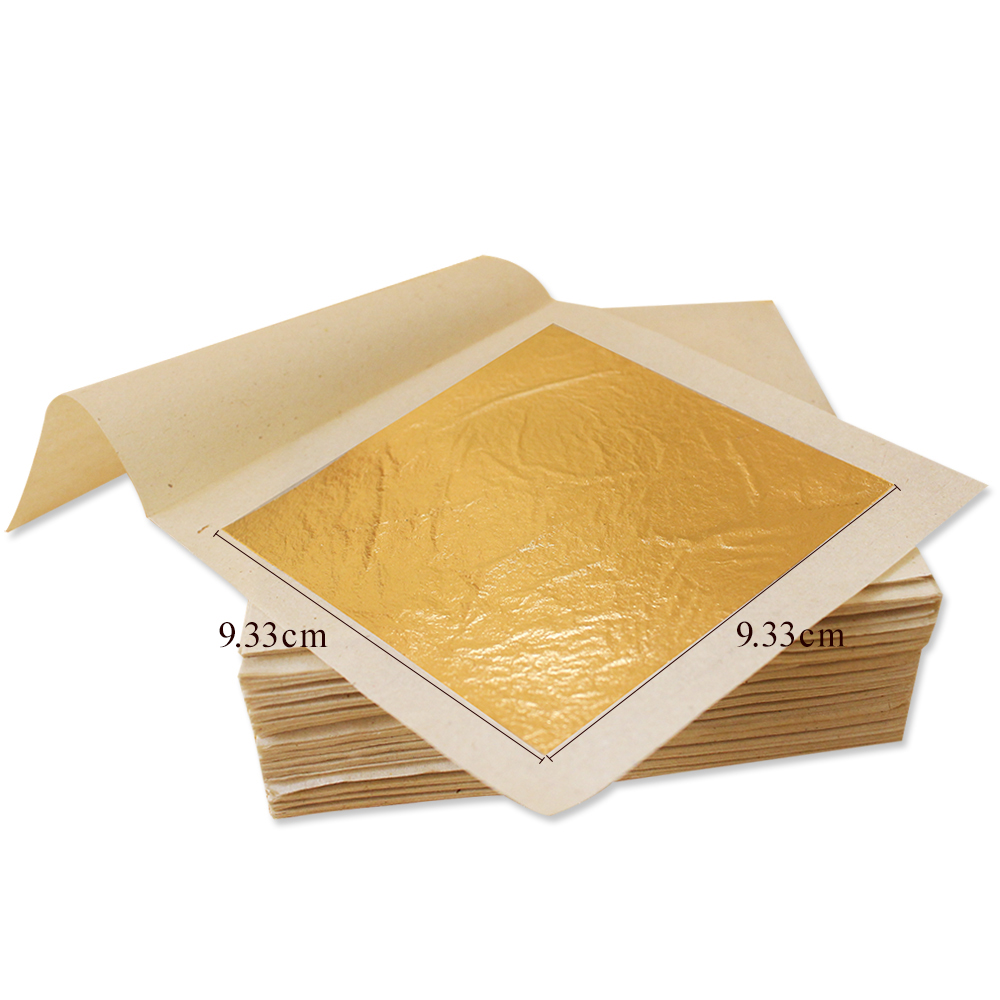 100pcs 9.33x9.33cm 24K Genuine Edible Gold Leaf Sheets  Food Decoration Coffee Tea Cake Pastry Ice-cream Chocolate 99.9% Gold