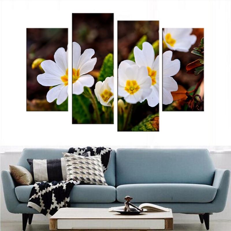 4 panel HD ağ çiçəklər bitki rəsm kətan rəsm sənəti çap - Ev dekoru - Fotoqrafiya 3