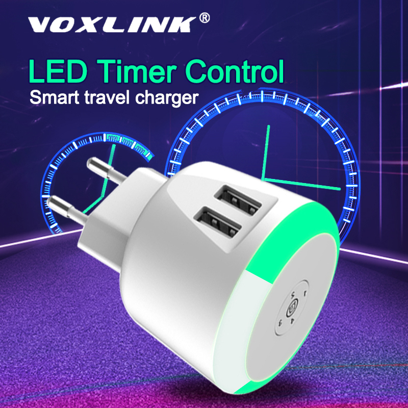 VOXLINK 5V2.1A LED Timer Control Smart travel charger dual usb inductive Charging For iPhone Samsung Xiaomi Mobile Phone Charger