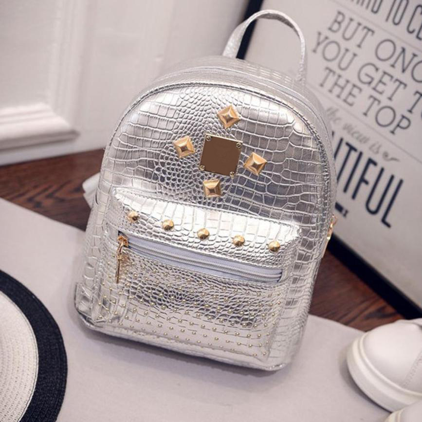 2017 new college wind schoolbag washed leather backpack Women Gold Velvet Small Rucksack Backpack School Book Shoulder Bag