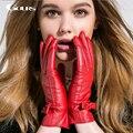 Gours 2016 Winter Women Genuine Leather Gloves New Fashion Brand Warm Girls Gloves Goatskin Mittens Guantes Luvas GSL003