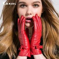 Gours Winter Women Genuine Leather Gloves New Fashion Brand Warm Girls Gloves Goatskin Mittens Guantes Luvas GSL003