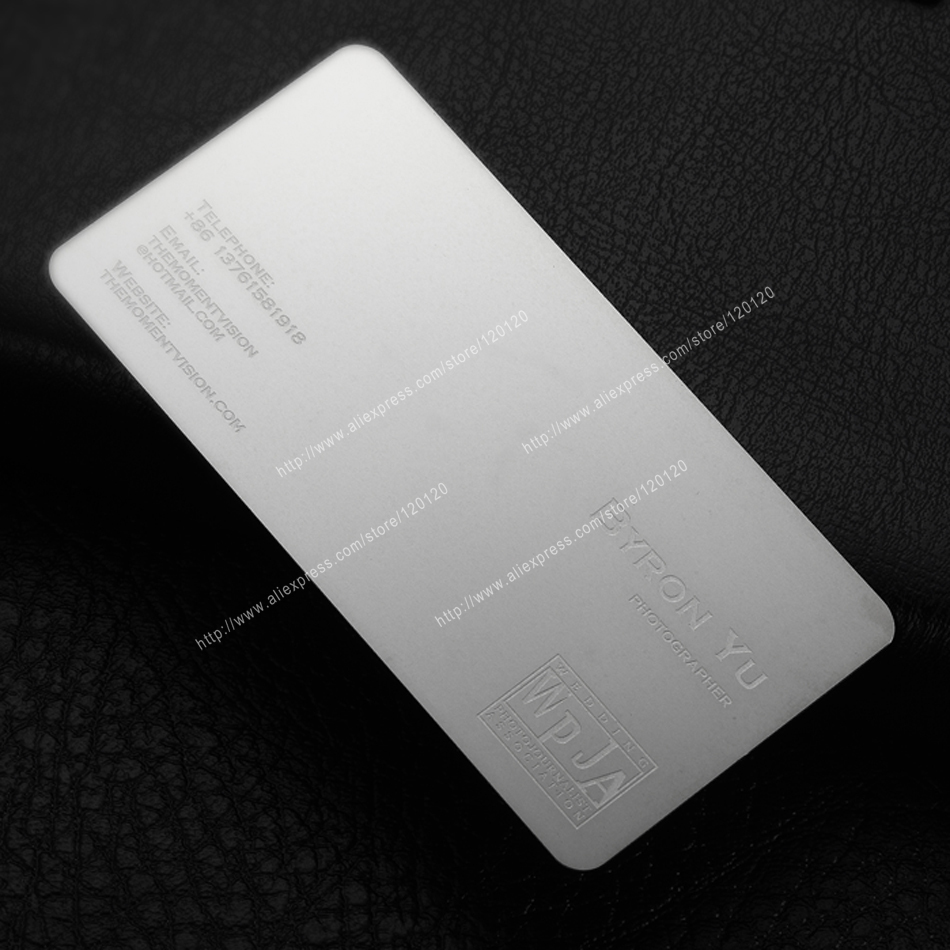 Personalized Feather Printing Quality Stainless Steel Business Metal Card